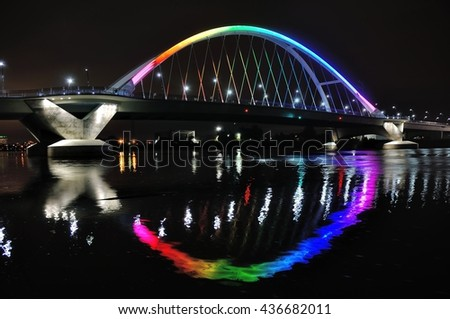 Lowry Avenue Bridge in Minneapolis lit in Rainbow Colors in Honor of Orlando Victims - stock photo