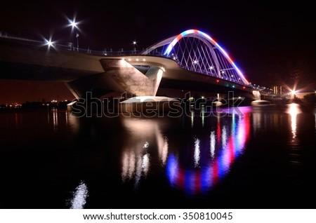 Lowry Avenue Bridge in Minneapolis, Minnesota at Night - stock photo