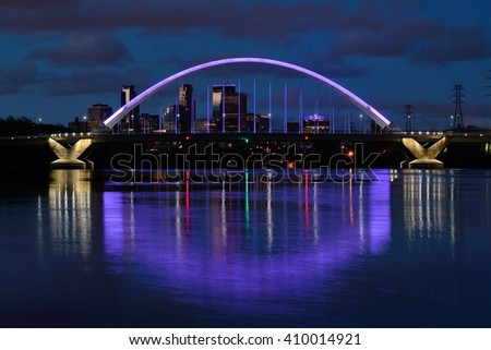 Lowry Avenue Bridge Lit in Purple to Honor Prince on the Day of His Death - stock photo