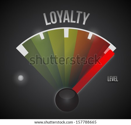loyalty level measure meter from low to high, concept illustration design - stock photo