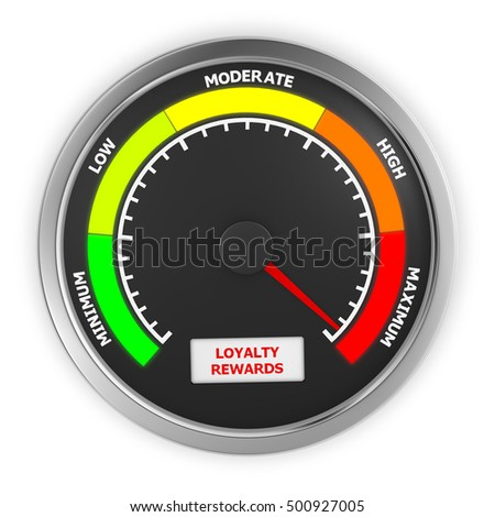 loyalty rewards level to maximum conceptual meter, 3d rendering