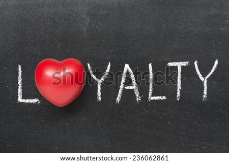 loyalty word handwritten on chalkboard with heart symbol instead of O