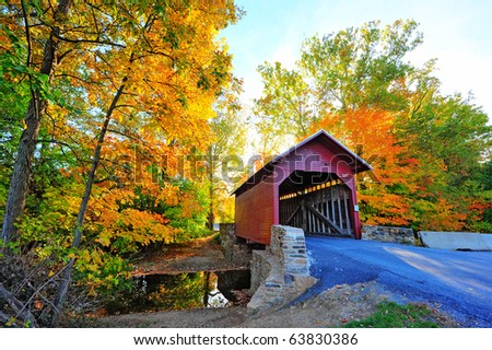 Loys Station Covered Bridge in Maryland during Autumn - stock photo