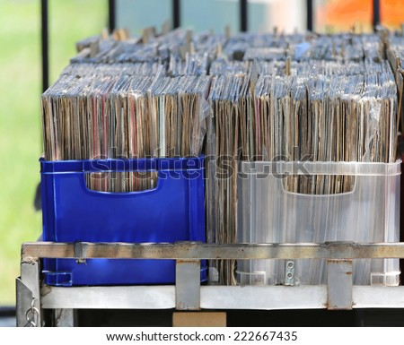 LP vinyl records collection in plastic crates