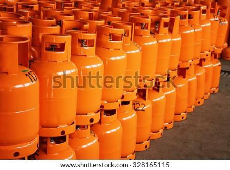 LPG Gas Bottles. LPG plant - stock photo