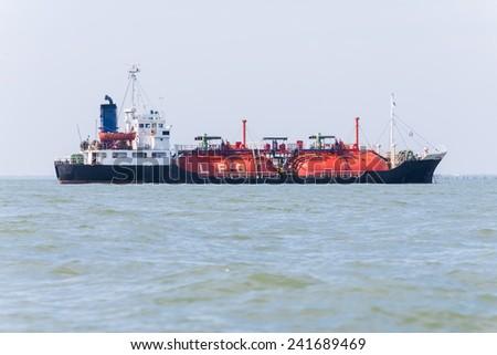 LPG gas tanker ship transportation - stock photo