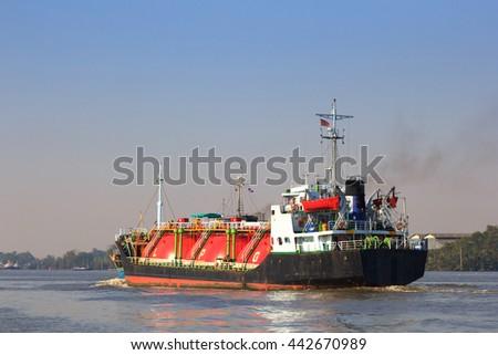 LPG Tanker Ship on the Chao Phraya River , Bangkok , Thailand - stock photo