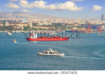 LPG tanker ship sailing in front of Istanbul Commercial Harbour. Some 50,000 ships pass through the Turkish Straits every year. LPG ship designed for liquefied petroleum gas transportation - stock photo