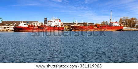 LPG tankers in port of Gdynia, Poland. - stock photo