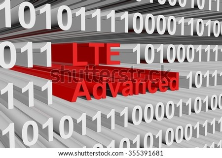LTE Advanced is presented in the form of binary code - stock photo