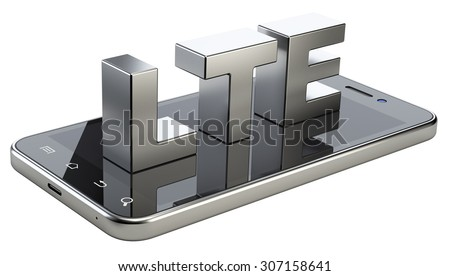 LTE sign on smart phone screen. High speed mobile web technology. 3d illustration isolated on a white background. - stock photo