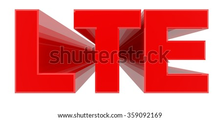 LTE word on white background 3d rendering - stock photo