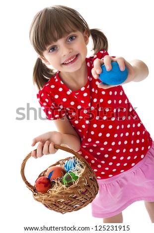 lttle girl with easter eggs - stock photo