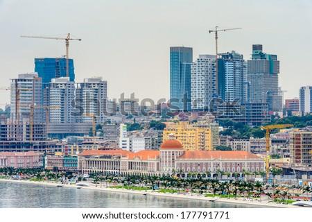 LUANDA, ANGOLA - MAR 4, 2013: Panorama of Luanda, formerly named Sao Paulo da Assuncao de Loanda, is the capital of Angola. Luanda is both Angola's chief seaport and its administrative center. - stock photo