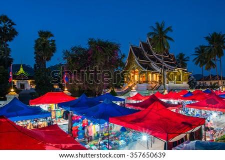 Luang Prabang, Laos - December 19, 2015: A famous walking street in the world heritage site, Luang Prabang, Laos. - stock photo