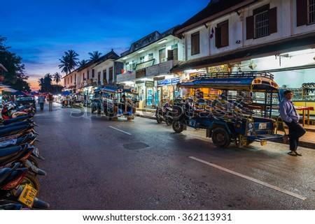Luang Prabang, Laos - December 21, 2015: A famous walking street in the world heritage site, Luang Prabang, Laos. - stock photo