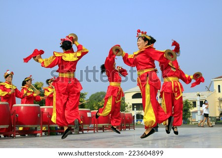 LUANNAN - AUGUST 2: Chinese traditional folk performances in a square on august 2, 2014, Luannan county, Hebei Province, China