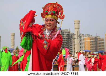 LUANNAN COUNTY - AUGUST 8: Yangko performances in the street on august 8, 2014, Luannan County, Hebei Province, China.
