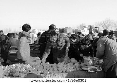 LUANNAN COUNTY - JANUARY 28: Customer and vendor in bargaining, before a fruit stalls, on january 28, 2014, Luannan county, Hebei province, China.