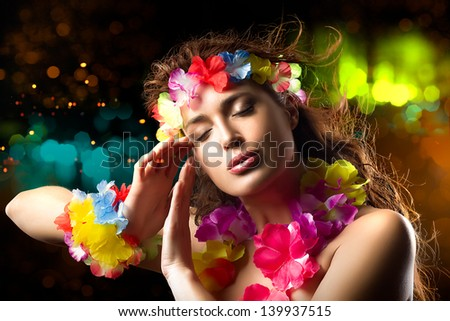 Luau Party Girl. Exotic Hula Dancer. Flying Hair - stock photo