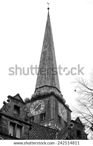 lubeck church copper roof detail in black and white - stock photo