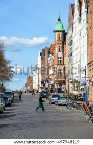 LUBECK, GERMANY - APRIL 5, 2015: View of the old town architecture, is the second largest city in Schleswig-Holstein