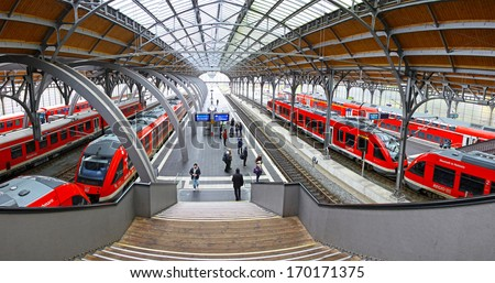 LUBECK, GERMANY - NOVEMBER 7, 2013: Lubeck Hauptbahnhof railway station. Is the main railway station of Lubeck city (Schleswig-Holstein state), opened at 1908 and serving about 31000 visitors daily - stock photo