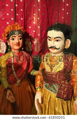 LUBECK - JUNE 8: medieval Indian puppets perform puppet show at TheaterFiguren on June 8, 2010 in Lubeck, Germany