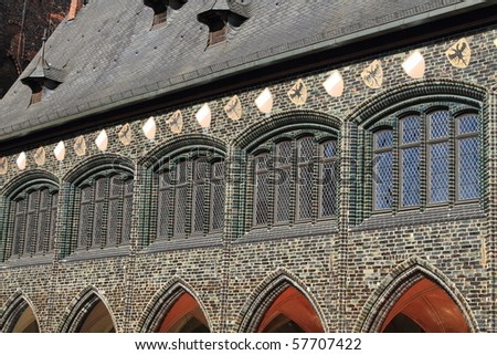 Lubeck medieval hall bridge details, forming part of the unesco world heritage site - stock photo