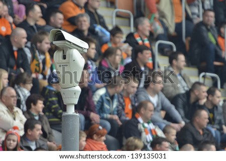 LUBIN, POLAND - APRIL 28: Monitoring CCTV on the football stadium during match Polish Premier League KGHM Zaglebie Lubin - WKS Slask Wroclaw (4:0) on April 28, 2013 in Lubin, Poland.