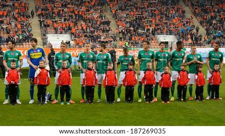 LUBIN, POLAND - APRIL 12, 2014: Team of Legia Warszawa before match Polish T-Mobile Premier League between KGHM Zaglebie Lubin - Legia Warszawa 1:3 - stock photo
