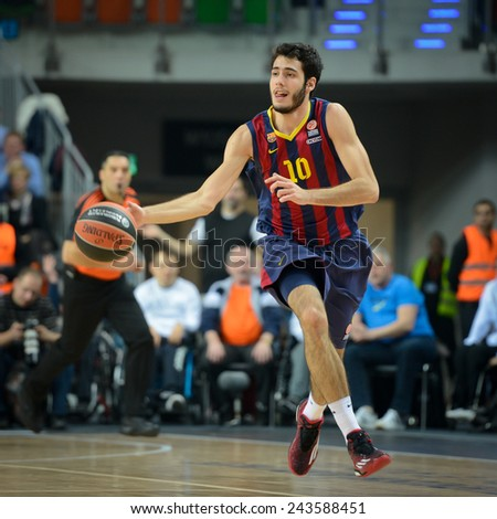 LUBIN, POLAND - DECEMBER 5, 2014:  Alex Abrines in action during the Euroleague basketball match between PGE Turow Zgorzelec - FC Barcelona 65:104. - stock photo