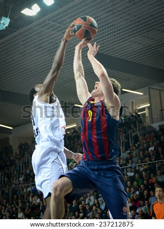 LUBIN, POLAND - DECEMBER 5, 2014: Tony Taylor in action during the Euroleague basketball match between PGE Turow Zgorzelec - FC Barcelona 65:104. - stock photo