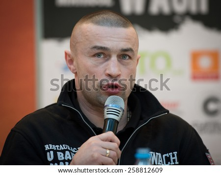 LUBIN, POLAND - MARZ 05, 2015: Trainer of Mariusz Wach - Piotr Wilczeski  during press conference before boxing fight betwen Mariusz Wach - Gbenga Oluokun.