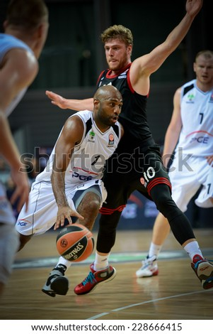 LUBIN, POLAND - NOVEMBER 06, 2014: Mardy Collins (1) in action during match Euroleague basketball  between PGE Turow Zgorzelec - Bayern Munich 89:78. - stock photo