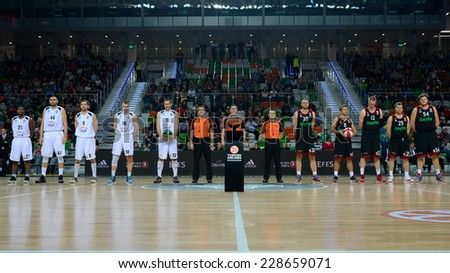 LUBIN, POLAND - NOVEMBER 06, 2014: Teams before match Euroleague basketball  between PGE Turow Zgorzelec - Bayern Munich 89:78. - stock photo