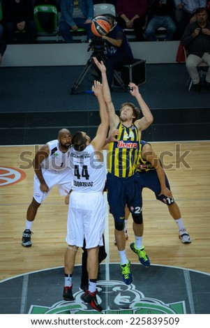LUBIN, POLAND - OCTOBER 24, 2014: Ivan Zigeranovic (44) and Jan Vesely (24) in action during the Euroleague basketball match between PGE Turow Zgorzelec - Fenerbache Ulker Stambul 76:91. - stock photo