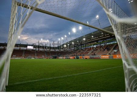 LUBIN, POLAND - OCTOBER 10, 2014: Stadium before match Polish 1 League between KGHM Zaglebie Lubin - MKS Sandecja Nowy Sacz 1:0 - stock photo