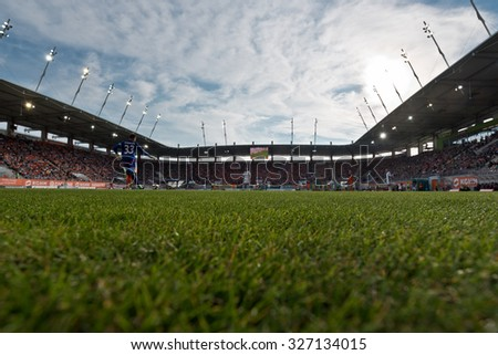 LUBIN, POLAND - OCTOBER 4, 2015: Stadium during match Polish Premer League between KGHM Zaglebie Lubin - Slask Wroclaw (1:1). - stock photo