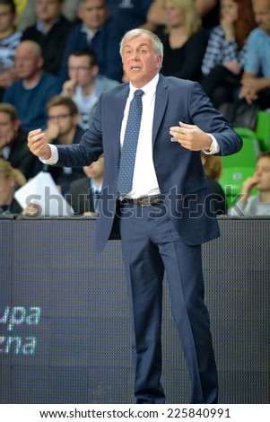 LUBIN, POLAND - OCTOBER 24, 2014: Trainer Zlejko Obradovic during the Euroleague basketball match between PGE Turow Zgorzelec - Fenerbache Ulker Stambul 76:91. - stock photo