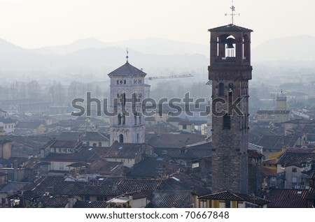 lucca a beautiful town in tuscany - stock photo