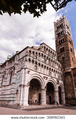 Lucca cathedral with campanile. Tuscany, Italy