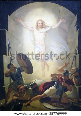 LUCCA, ITALY - JUNE 06, 2015: Altarpiece depicting Resurrection of Christ, work by Michele Ridolfi in Cathedral of St.Martin in Lucca, Italy, on June 06, 2015 - stock photo