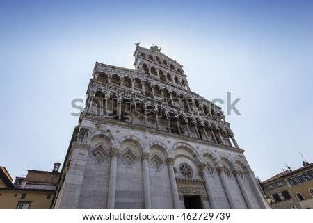 LUCCA, ITALY, JUNE 07, 2016 : architectural details of San Michele in foro church, june 07, 2016 in Lucca, Tuscany, Italy
