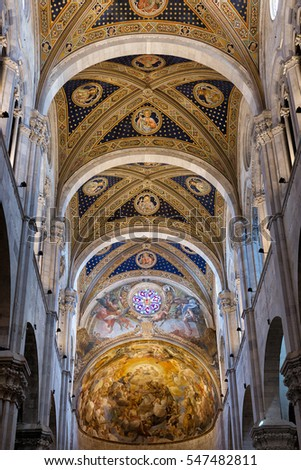 Lucca, Italy-June 7, 2015. Detail interior view  of Lucca Cathedral (Duomo di Lucca, Cattedrale di San Martino) is a Roman Catholic cathedral dedicated to Saint Martin in Lucca, Italy.