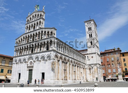 LUCCA, ITALY - JUNE 16 2016: San Michele in Foro is a Roman Catholic basilica church that was built over the ancient Roman forum.