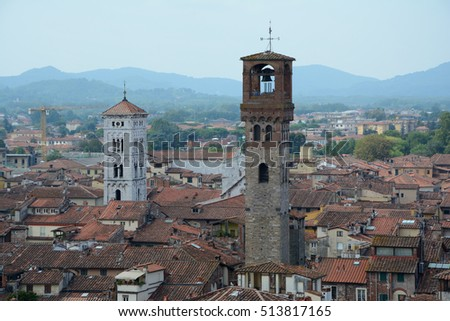 Lucca, Italy - September 5, 2016: View over old part of Lucca city in Italy.