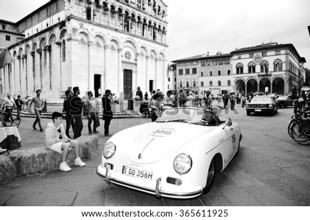 LUCCA (LU), ITALY - MAY 16: A Porsche 356 Speedster, driven by Wolfgang and Ferdinand Porsche, takes part to the 1000 Miglia classic car race on May 16, 2015 in Lucca (LU). The car was built in 1955. - stock photo