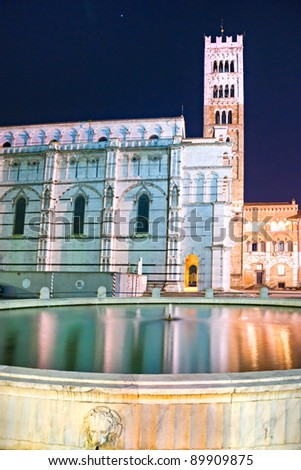 Lucca - view of St Martin's Cathedral - stock photo