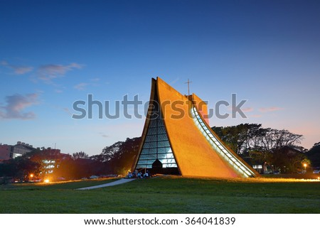 Luce Memorial Chapel on the campus of Tunghai University in Taichung, Taiwan. - stock photo